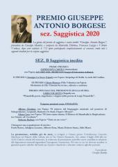 RISULTATI PREMIO GIUSEPPE ANTONIO BORGESE sez. Saggistica 2020