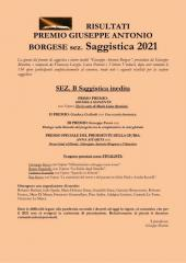 RISULTATI  PREMIO GIUSEPPE ANTONIO BORGESE sez. Saggistica 2021